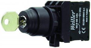 WL9 22mm 1-0-2 Plastik Kalıcı Anahtarlı  Buton (1NO+1NO) – 3 Kontak Takılabilir