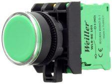 22mm Plastik  Ledli Yaylı Start Buton Yeşil (1NO)
