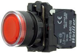 WL5 22mm Plastik Ledli Yaylı Stop Buton  (1NO) – 110-240VAC
