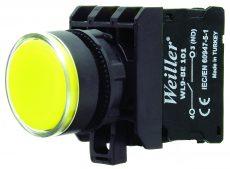 22mm Plastik  Ledli Yaylı Start Buton Sarı (1NO)