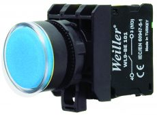 22mm Plastik  Ledli Yaylı Start Buton Mavi  (1NO)