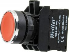 22mm Metal Kaplamalı Ledli Yaylı Plastik Start Buton Kırmızı (1NO)