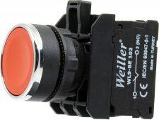 22mm Yaylı Metal Kaplamalı Stop Buton Kırmızı (1NC)