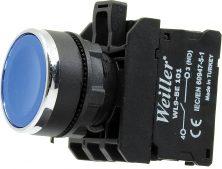 22mm Metal Kaplamalı Ledli Yaylı Plastik Start Buton Mavi (1NO)