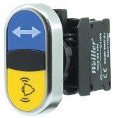 22mm Plastik Metal Kaplamalı Alarm – Ortak Oklu İkiz Buton (1NO/1NO)