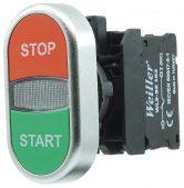22mm Plastik Metal Kaplamalı  Start Stop Yazılı İkiz Buton (1NO/1NC)