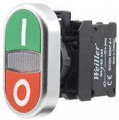 22mm Plastik Metal Kaplamalı  Start Stop İşaretli ikiz Buton (1NO/1NC)