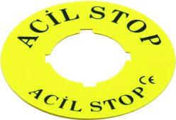Ø60 mm Leksan Baskılı Acil Stop Yapışkanlı Etiket