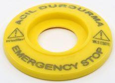 Ø60 mm Plastik  Acil Durdurma + Emergency Rozeti – (İnce Tip) LAZER BASKI