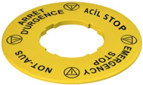 Ø60 mm Plastik Dört Dilde Acil Stop Rozeti – (İnce Tip) LAZER BASKI