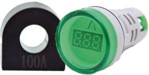 WL22-VA73Y Ø22mm Display Göstergeli Ampermetre 1A-100A AC – MAX: 380V AKIM TRAFOLU