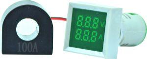 WL22-VAM73K Ø22mm Display Göstergeli Voltampermetre 12- 500VAC 1A-100A AC AKIM TRAFOLU