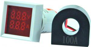 WL22-VAM74K Ø22mm Display Göstergeli Voltampermetre 12- 500VAC 1A-100A AC AKIM TRAFOLU