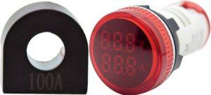WL22-VAM74Y Ø22mm Display Göstergeli Voltampermetre 12- 500VAC     1A-100A AC AKIM TRAFOLU