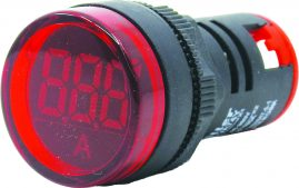 WL22-VA74Y Ø22mm Display Göstergeli Ampermetre 1A-100A AC – MAX: 380V AKIM TRAFOLU