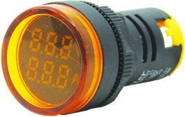 WL22-VAM75Y Ø22mm Display Göstergeli Voltampermetre 12- 500VAC     1A-100A AC AKIM TRAFOLU